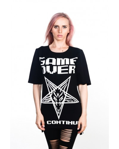 Удлиненная футболка Game Over Black Unisex