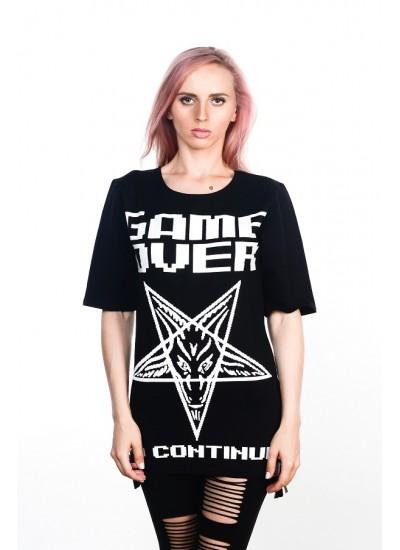 Удлиненная футболка Game Over Black Unisex