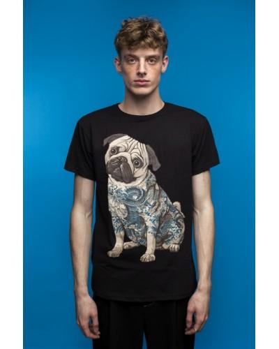 Черная футболка с мопсом (Tattoo Pug)