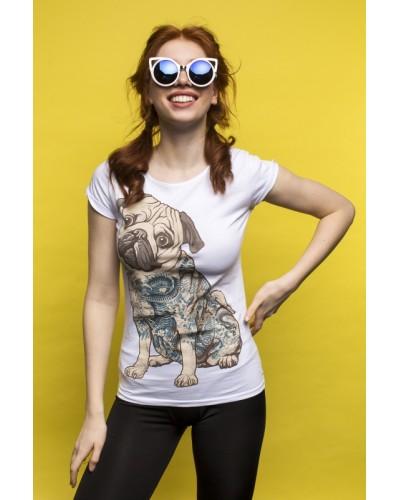 Белая женская футболка с мопсом (Tattoo Pug)