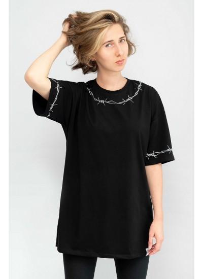 Черная футболка oversize «Колючая проволока»