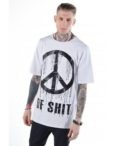 Удлиненная футболка Peace of Shit White