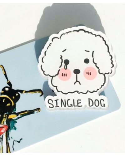 Пластиковый значок Single dog