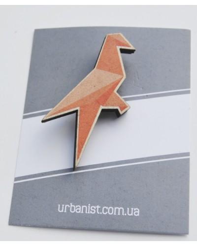 Значок деревянный Origami Bird