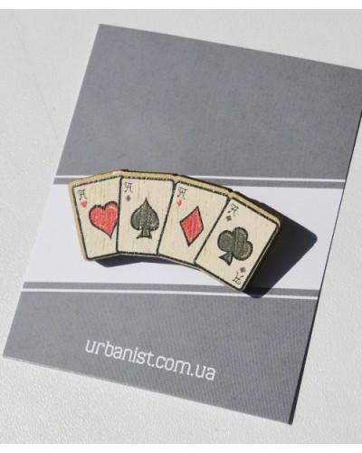 Значок деревянный Playcards