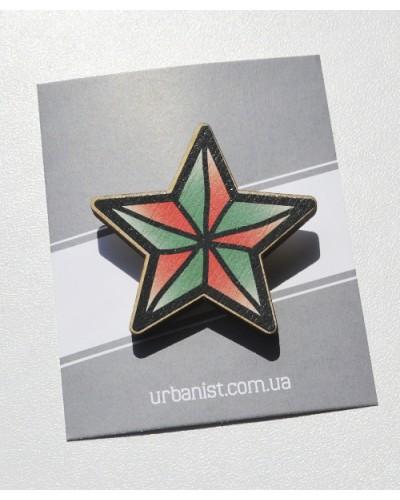 Значок деревянный Star