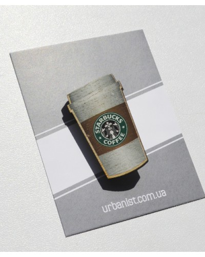 Значок деревянный Starbucks
