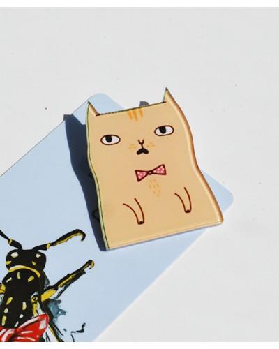 Пластиковый значок Bored Cat